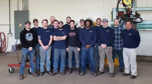 Thaddeus students learn sub-arc welding at High Steel - Lancaster in January 2019. Photo supplied by John Peiffer.