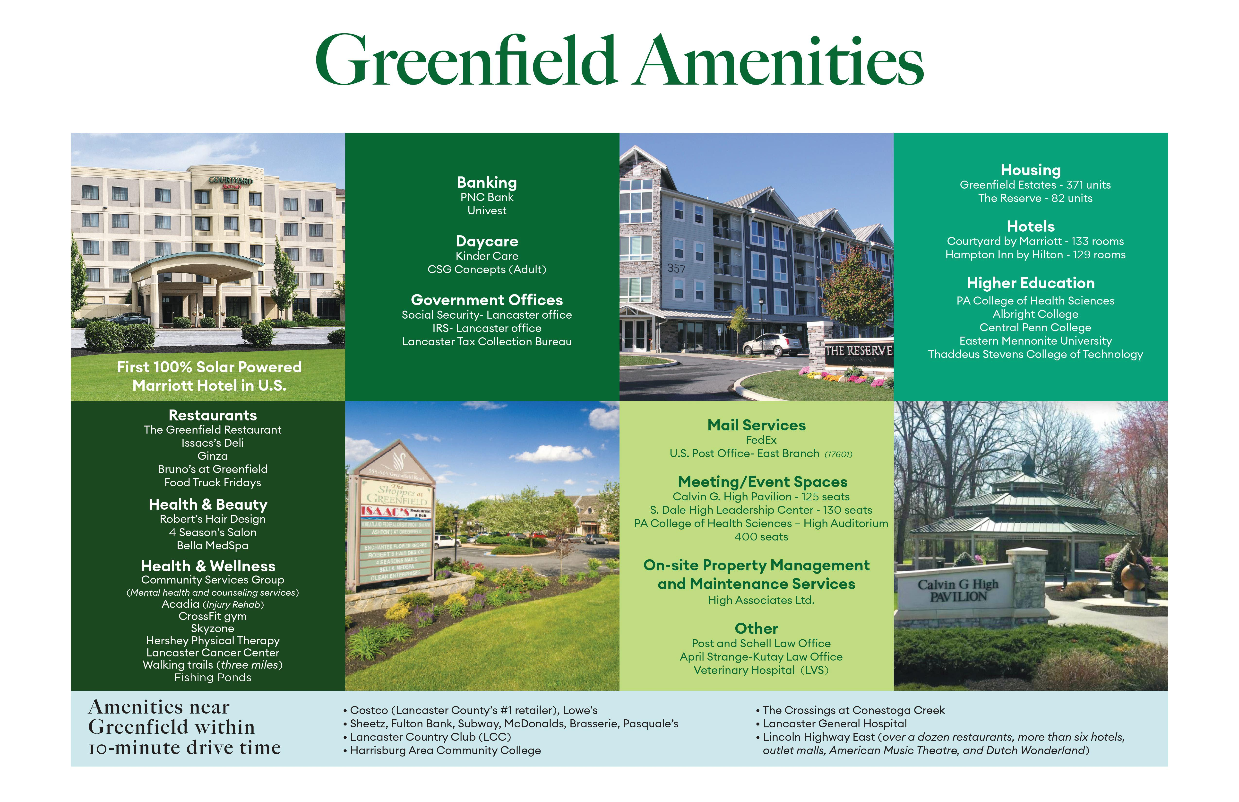 Images and text describing Greenfield amenities.