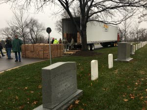 Wreathes Unloaded from High Transit Truck